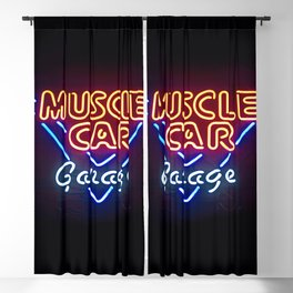 MUSCLE CAR GARAGE - Retro Neon Sign Blackout Curtain