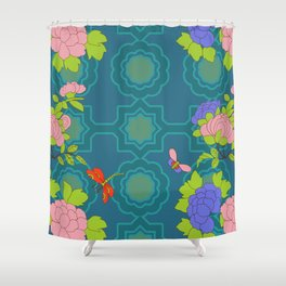 Nonya Peonies and butterfly Shower Curtain