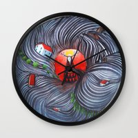 evil Wall Clocks featuring Evil by Valentina Gruer