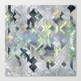 Geometric Translucent Agate and Mother of pearl Canvas Print