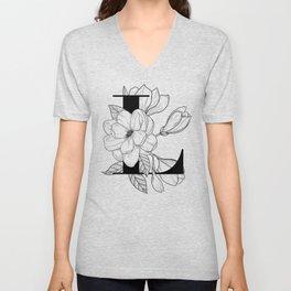 Monogram Letter L with Magnolia Line Art  Unisex V-Neck