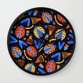Moody Ladybug Botanical  Wall Clock