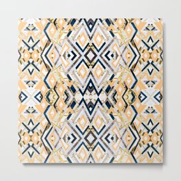 3dimensional marbled geometry pattern I Metal Print
