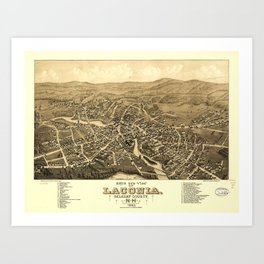 Bird's Eye View of Laconia, New Hampshire (1883) Art Print