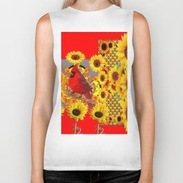 RED CARDINAL BIRD YELLOW SUNFLOWERS  ABSTRACT Biker Tank