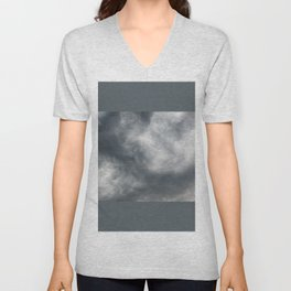 Gloomy billowy sky stormy weather Unisex V-Neck