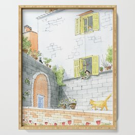 Girl And Boy In Love/ A Front Yard Life/ A Boy Gives A Flower To A Girl/ Kids At The Window Serving Tray