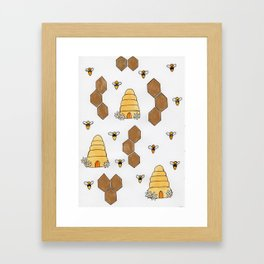 Watercolor beehive and honeycomb illustration Framed Art Print