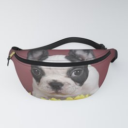 Frenchie with flowers Fanny Pack