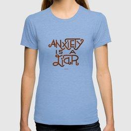 Anxiety is A Liar (maroon) T-shirt