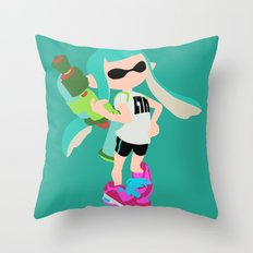 Inkling Girl (Aqua) - Splatoon Throw Pillow