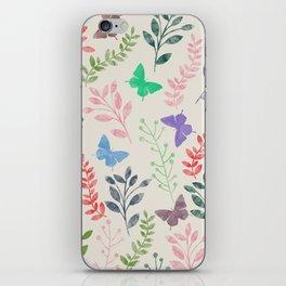 Watercolor flowers & butterflies iPhone Skin