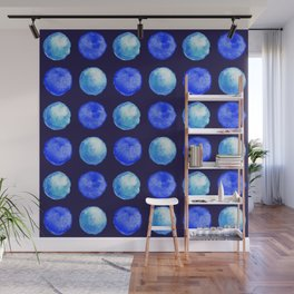 Winter Blue Watercolor Large Dots Pattern Wall Mural