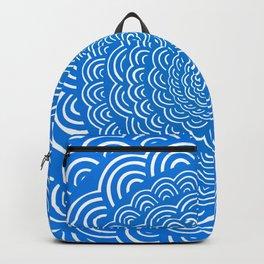 Spiral Mandala (Cobalt Blue) Curve Round Rainbow Pattern Unique Minimalistic Vintage Zentangle Backpack