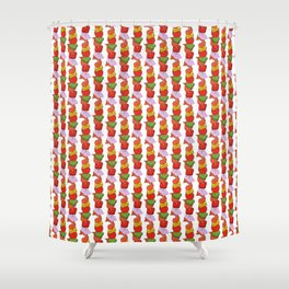 Grilled Veggies - BBQ Doodle Pattern in White Shower Curtain