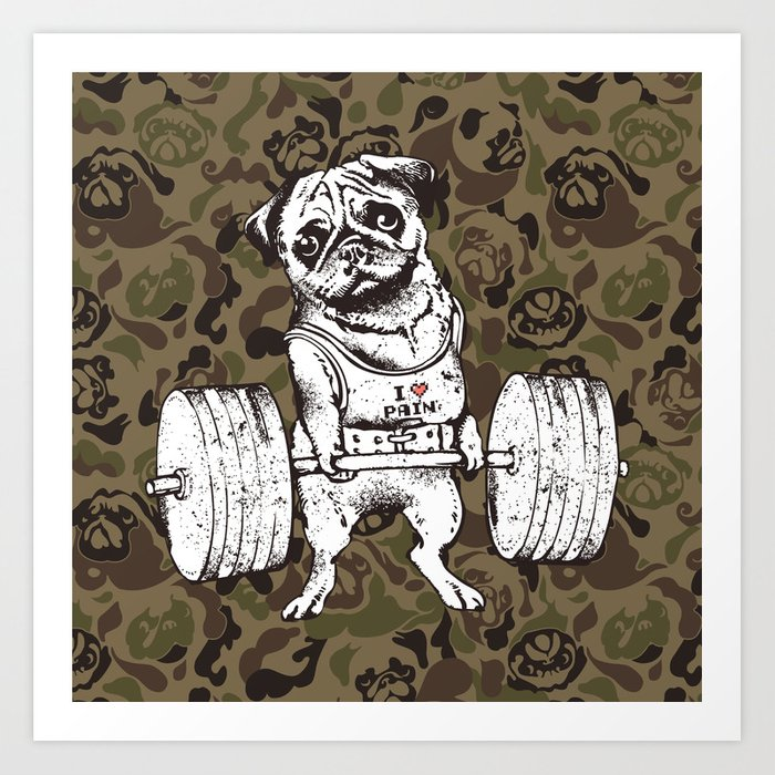 Pug Lift Camo Art Print