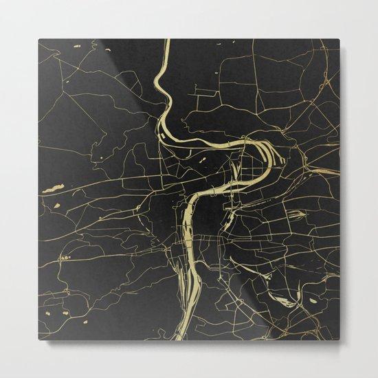 Prague Black and Gold Map Metal Print