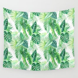 palm leaves watercolor pattern Wall Tapestry