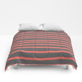 Living Coral Stripes on Gray Comforters
