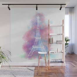 Eiffel Tower Water Color Sketch Wall Mural