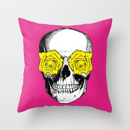 Skull and Roses | Skull and Flowers | Vintage Skull | Pink and Yellow | Throw Pillow