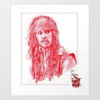 jack sparrow Art Prints featuring Captain Jack Sparrow by Cassie's Wonderland