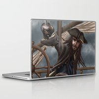 jack sparrow Laptop & iPad Skins featuring Captain Jack Sparrow by Art of Nym