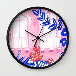 Syracuse, Sicily I // Facades City design serie // Gouache painting Wall Clock