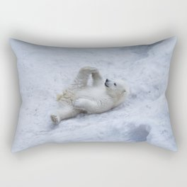 Portrait of polar bear cub practicing yoga on the snow. Rectangular Pillow