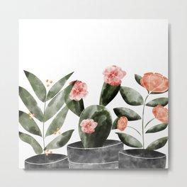Watercolor Cactus Floral Metal Print