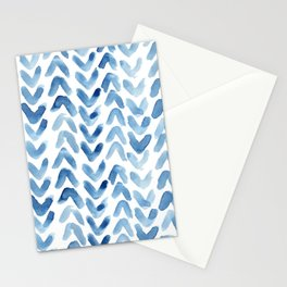 Blue Chevron Watercolour Stationery Cards