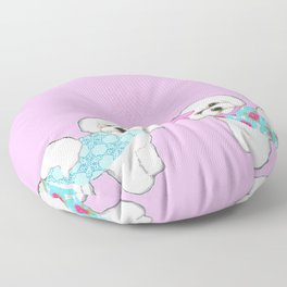 Bichon Frise Dogs in love- wearing pink and blue coats Floor Pillow