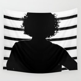 Woman Silhouette - Black&White Wall Tapestry