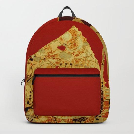 torn golden floral on red Backpack