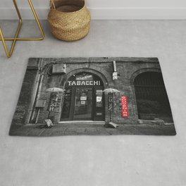 Souvenirs from Bologna Black and White Photography Street Rug
