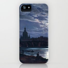 View of Dresden by Moonlight by Johan Christian Dahl (1839) iPhone Case