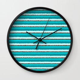 Aqua and Red Wobbly Horizontal Lines Wall Clock