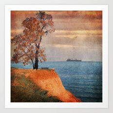 Autumn by the sea Art Print