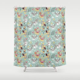 Mint green red yellow white hand drawn floral pattern Shower Curtain