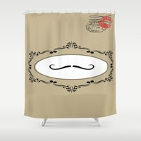 mustache Shower Curtains featuring Mustache by My own little world