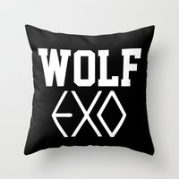 exo Throw Pillows featuring EXO  Wolf by Sara Eshak