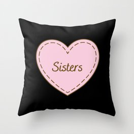 I Love Sisters Simple Heart Design Throw Pillow