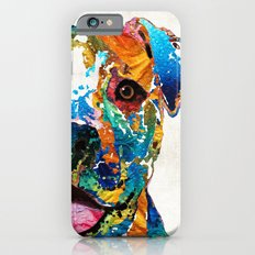 Colorful Dog Pit Bull Art - Happy - By Sharon Cummings Slim Case iPhone 6