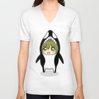 iwatobi V-neck T-shirts featuring Free! Onesies - Tachibana Makoto by Tsundere in the Sheets
