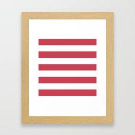 Brick red - solid color - white stripes pattern Framed Art Print