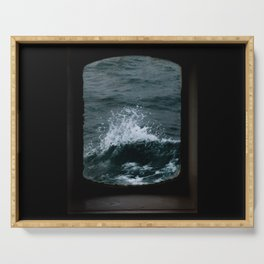 Wave out of a window of a ship – Minimalist Oceanscape Serving Tray
