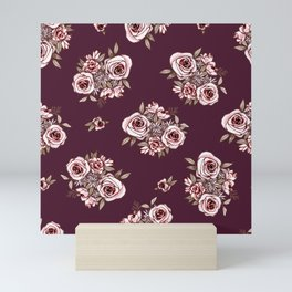 Burgundy Flower Pattern with Pink Flowers Mini Art Print