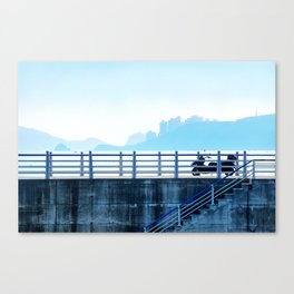 Faded blue landscape Canvas Print