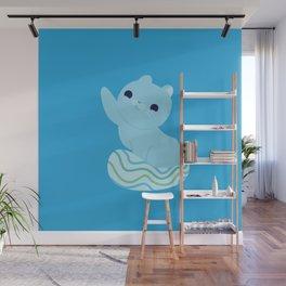 Cute Blue Water Seal Cat Wall Mural