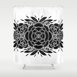 Blackwork succulents Shower Curtain